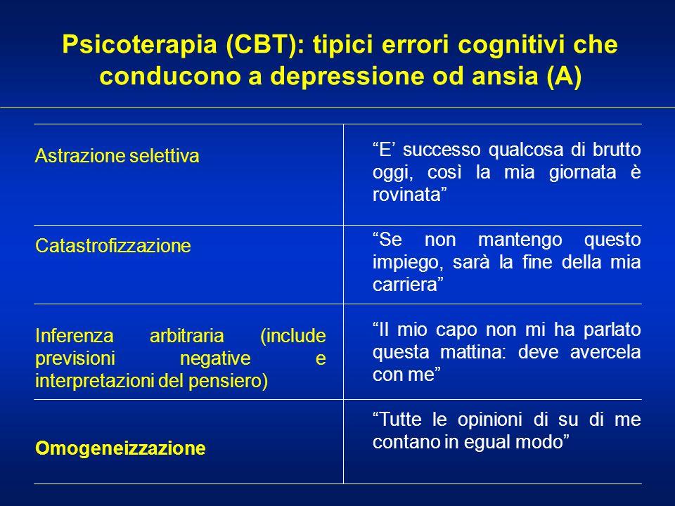 Psicoterapia (CBT): tipici errori cognitivi che conducono a depressione od ansia (A) Astrazione selettiva Catastrofizzazione Inferenza arbitraria (inc