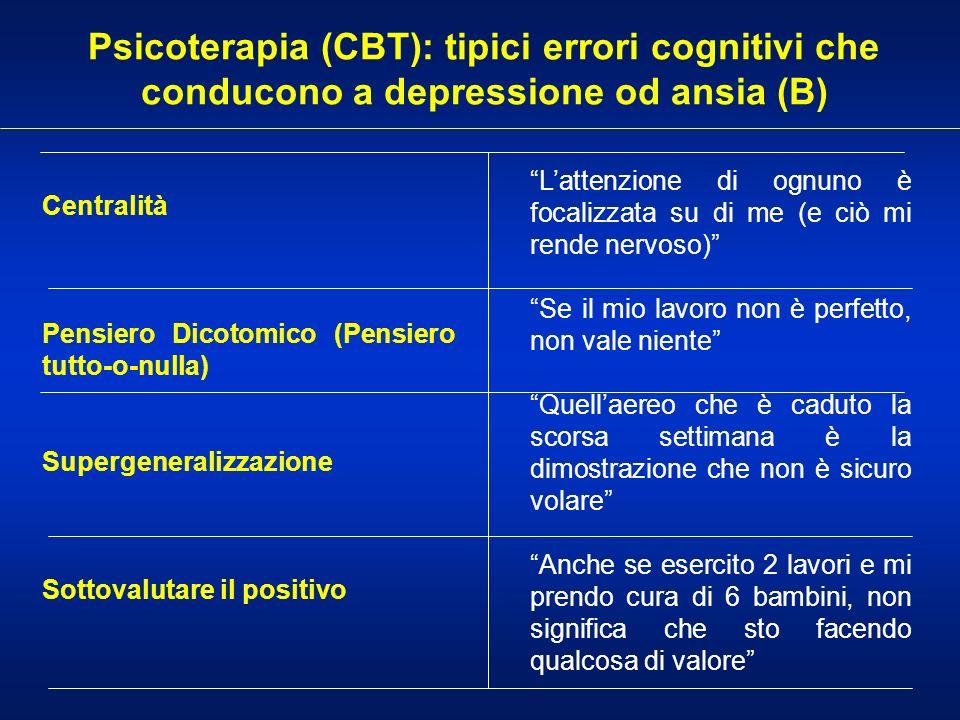 Psicoterapia (CBT): tipici errori cognitivi che conducono a depressione od ansia (B) Centralità Pensiero Dicotomico (Pensiero tutto-o-nulla) Supergene