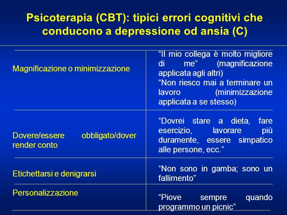 Psicoterapia (CBT): tipici errori cognitivi che conducono a depressione od ansia (C) Magnificazione o minimizzazione Dovere/essere obbligato/dover ren