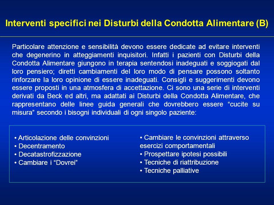 Interventi specifici nei Disturbi della Condotta Alimentare (B) Articolazione delle convinzioni Decentramento Decatastrofizzazione Cambiare i Dovrei P