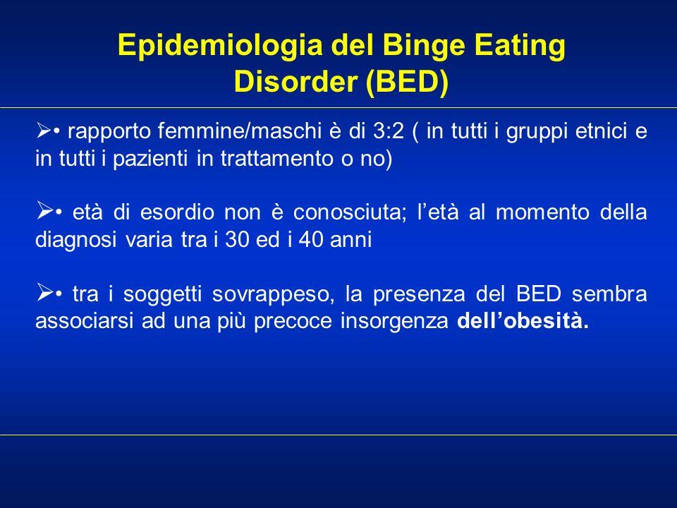 Epidemiologia del Binge Eating Disorder (BED) rapporto femmine/maschi è di 3:2 ( in tutti i gruppi etnici e in tutti i pazienti in trattamento o no) e