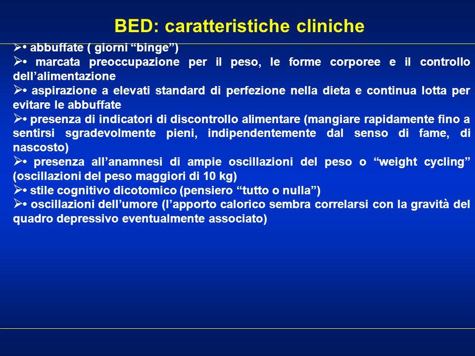 BED: caratteristiche cliniche abbuffate ( giorni binge) marcata preoccupazione per il peso, le forme corporee e il controllo dellalimentazione aspiraz