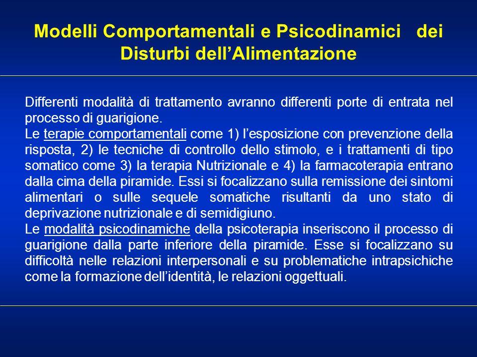 Modelli Comportamentali e Psicodinamici dei Disturbi dellAlimentazione Differenti modalità di trattamento avranno differenti porte di entrata nel proc