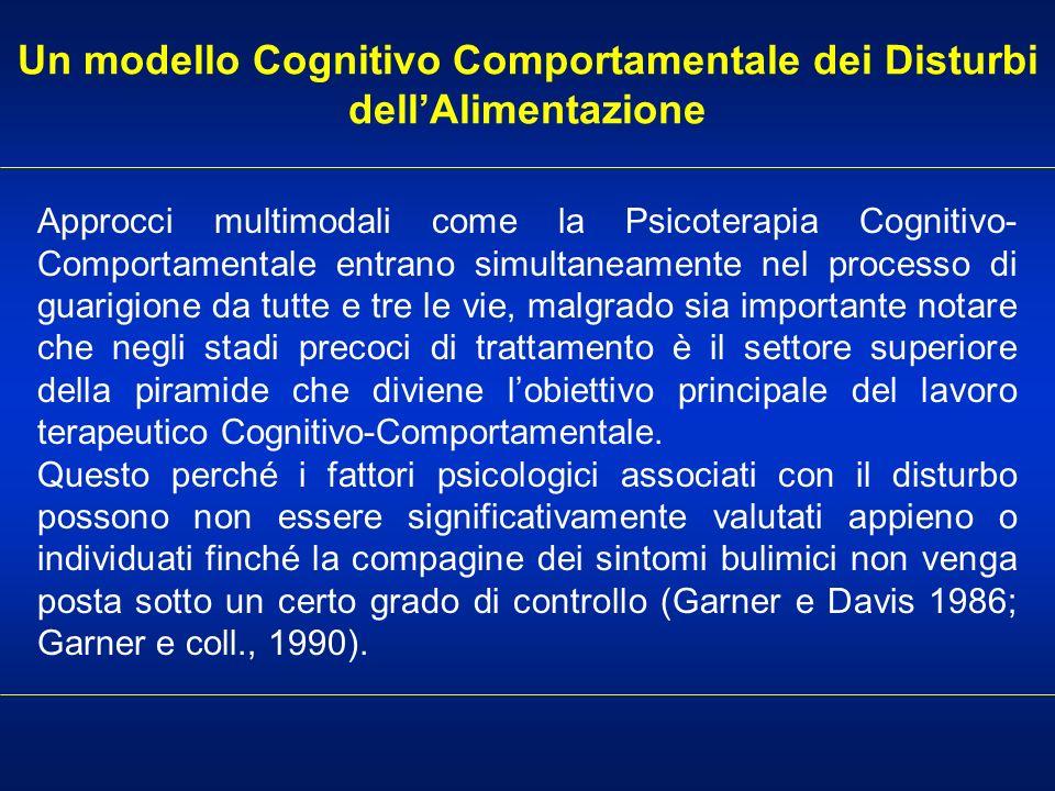 Un modello Cognitivo Comportamentale dei Disturbi dellAlimentazione Approcci multimodali come la Psicoterapia Cognitivo- Comportamentale entrano simul