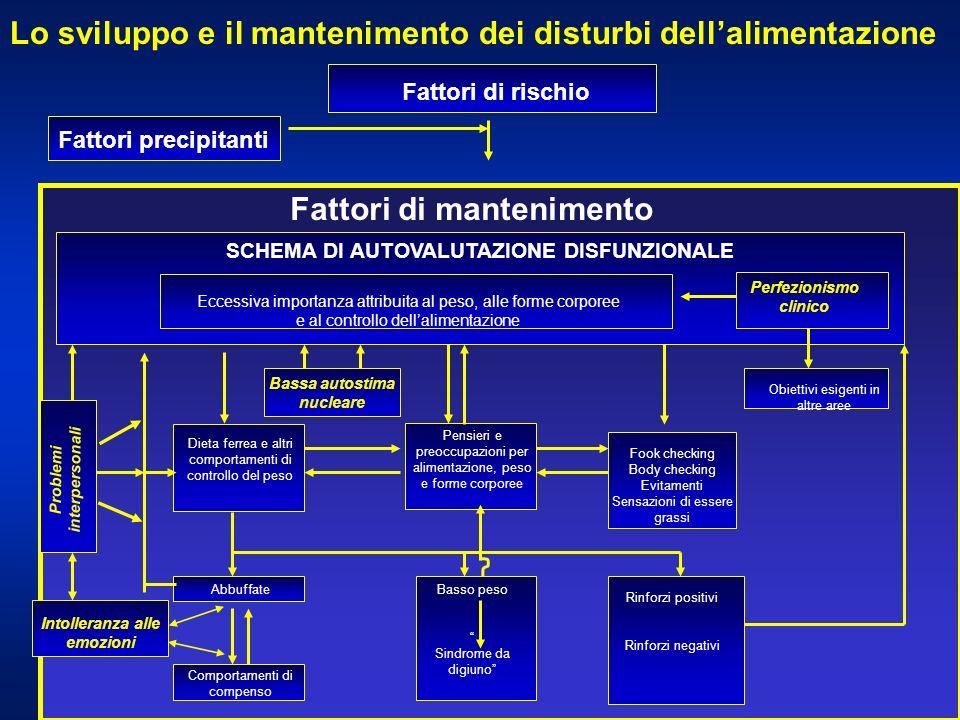 Lo sviluppo e il mantenimento dei disturbi dellalimentazione Fattori di rischio Fattori precipitanti Fattori di mantenimento Pensieri e preoccupazioni