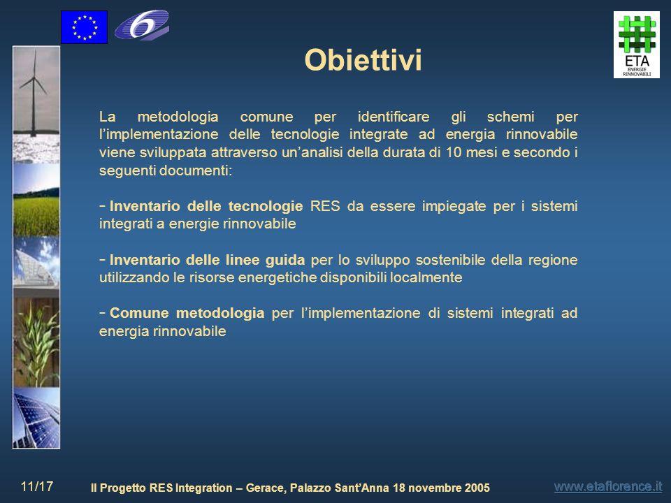 Il Progetto RES Integration – Gerace, Palazzo SantAnna 18 novembre 2005 11/17 Obiettivi La metodologia comune per identificare gli schemi per limpleme