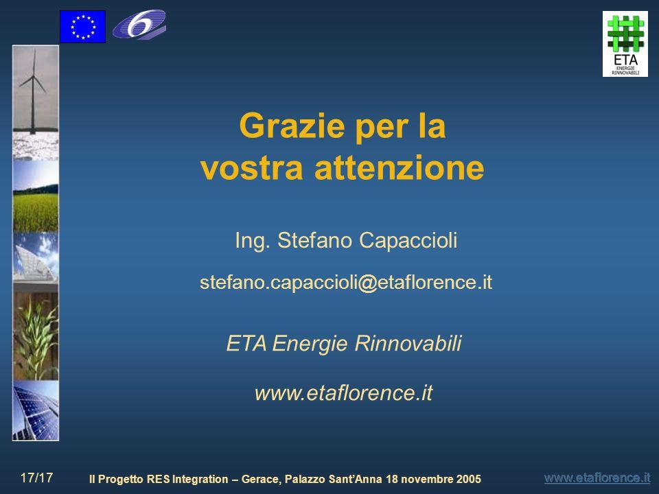 Il Progetto RES Integration – Gerace, Palazzo SantAnna 18 novembre 2005 17/17 Grazie per la vostra attenzione Ing. Stefano Capaccioli stefano.capaccio