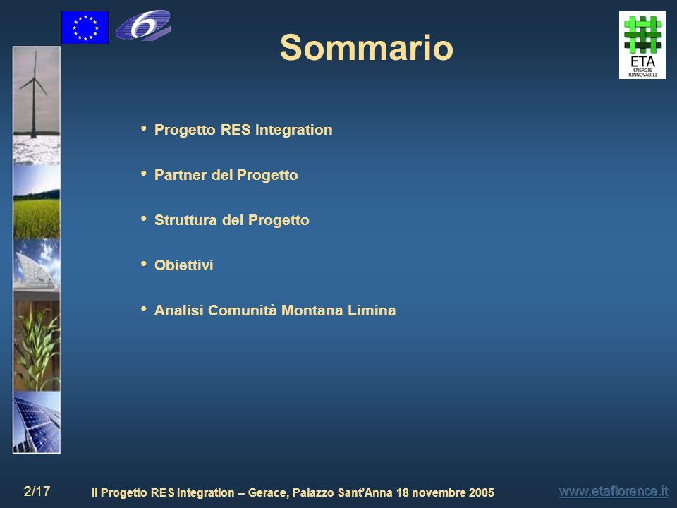 Il Progetto RES Integration – Gerace, Palazzo SantAnna 18 novembre 2005 2/17 Progetto RES Integration Partner del Progetto Struttura del Progetto Obie