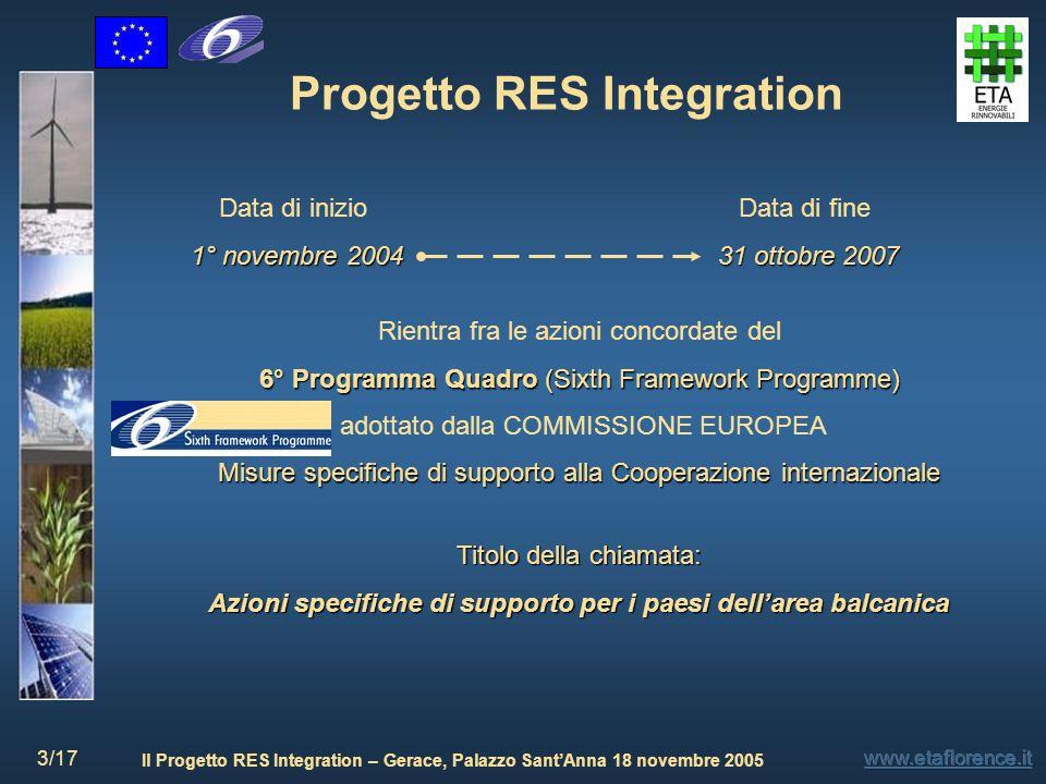 Il Progetto RES Integration – Gerace, Palazzo SantAnna 18 novembre 2005 3/17 Progetto RES Integration Rientra fra le azioni concordate del 6° Programm