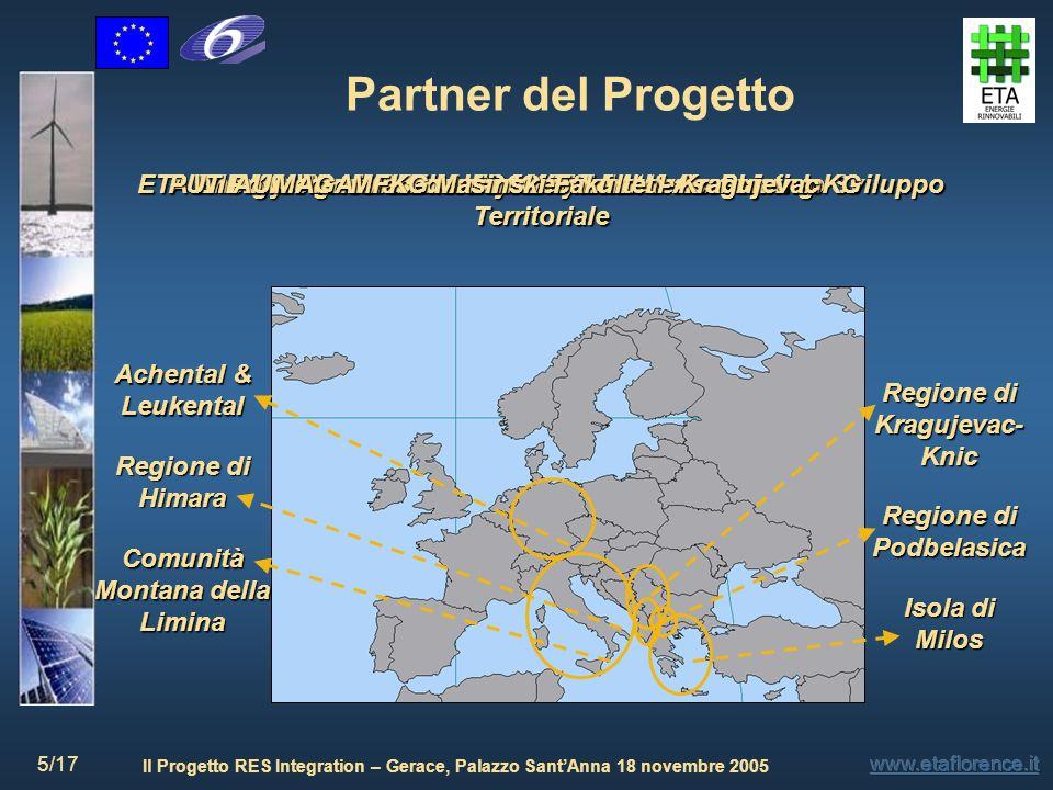 Il Progetto RES Integration – Gerace, Palazzo SantAnna 18 novembre 2005 6/17 Struttura del Progetto Primo step: Ogni partner del progetto ha individuato nel proprio paese una regione rurale pilota Successivi Task da seguire: 1.