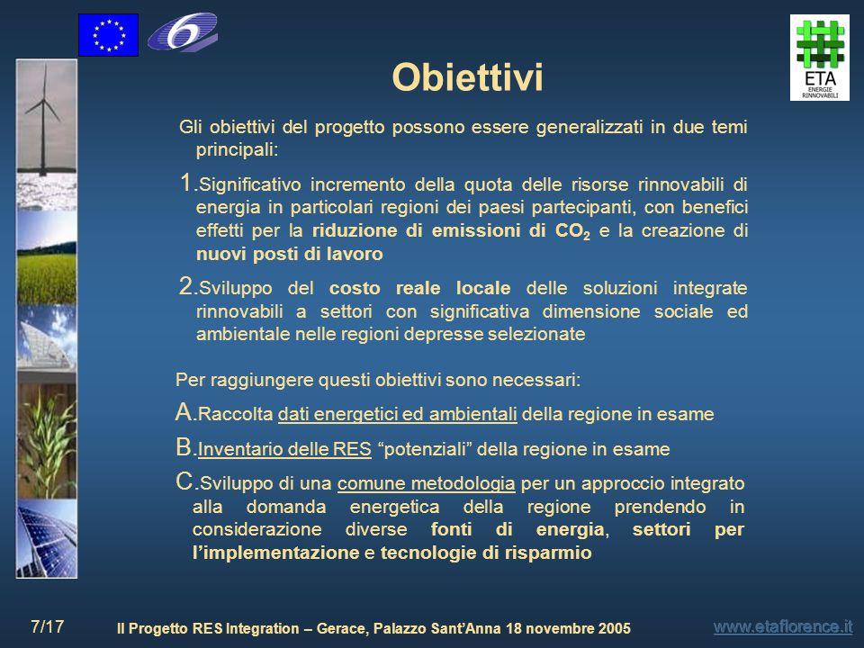 Il Progetto RES Integration – Gerace, Palazzo SantAnna 18 novembre 2005 7/17 Gli obiettivi del progetto possono essere generalizzati in due temi princ