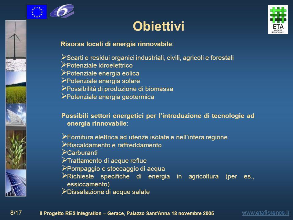 Il Progetto RES Integration – Gerace, Palazzo SantAnna 18 novembre 2005 8/17 Obiettivi Risorse locali di energia rinnovabile: Scarti e residui organic