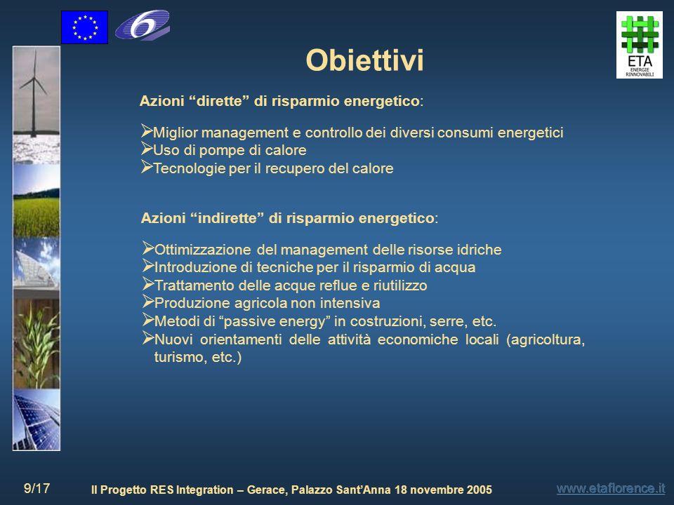 Il Progetto RES Integration – Gerace, Palazzo SantAnna 18 novembre 2005 9/17 Obiettivi Azioni dirette di risparmio energetico: Miglior management e co