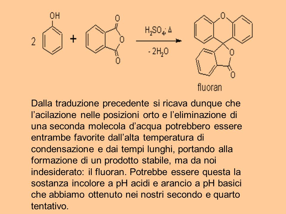 Dalla traduzione precedente si ricava dunque che lacilazione nelle posizioni orto e leliminazione di una seconda molecola dacqua potrebbero essere ent