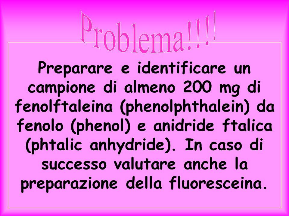 Preparare e identificare un campione di almeno 200 mg di fenolftaleina (phenolphthalein) da fenolo (phenol) e anidride ftalica (phtalic anhydride). In
