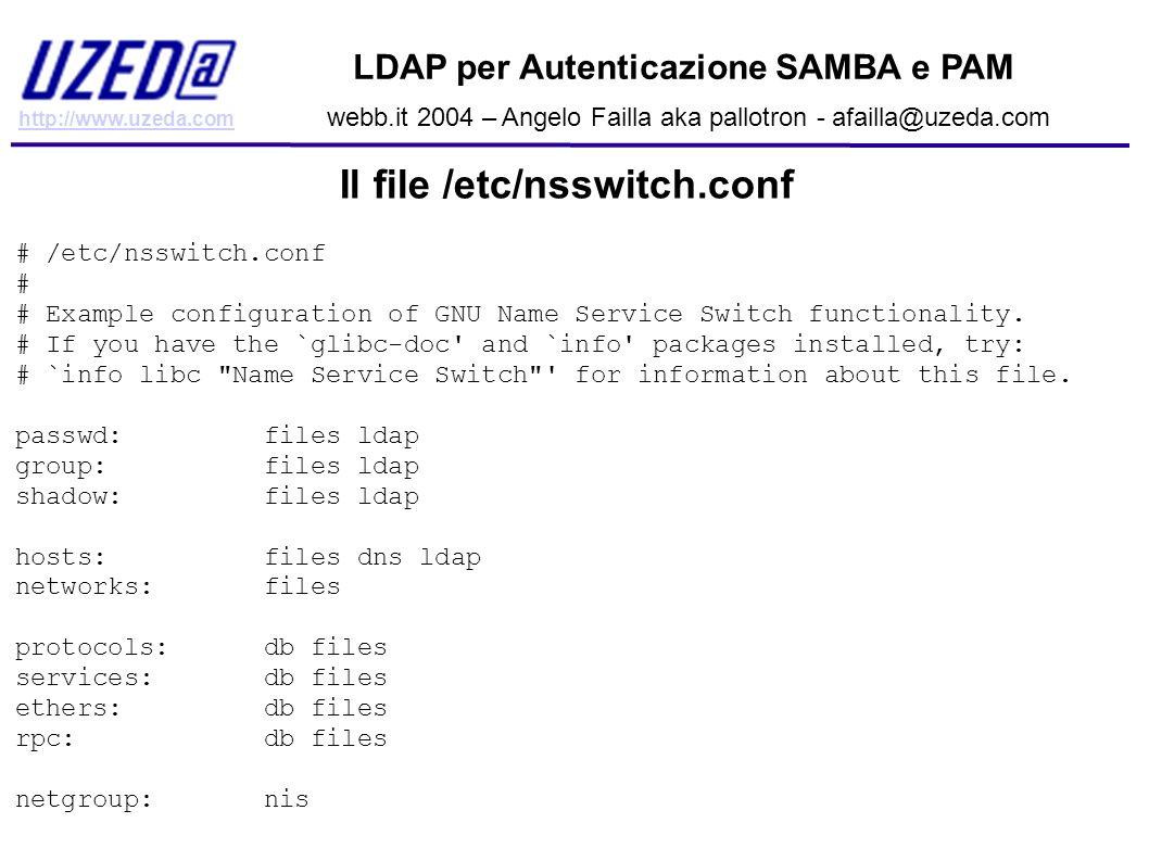 http://www.uzeda.com LDAP per Autenticazione SAMBA e PAM webb.it 2004 – Angelo Failla aka pallotron - afailla@uzeda.com Il file /etc/nsswitch.conf # /