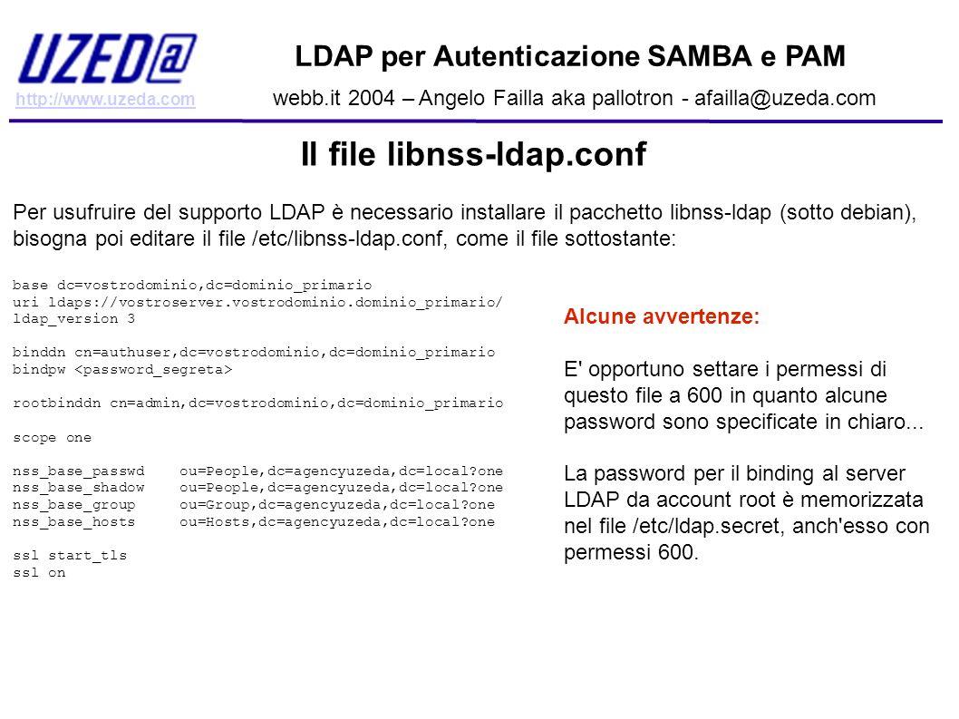 http://www.uzeda.com LDAP per Autenticazione SAMBA e PAM webb.it 2004 – Angelo Failla aka pallotron - afailla@uzeda.com Il file libnss-ldap.conf Per u