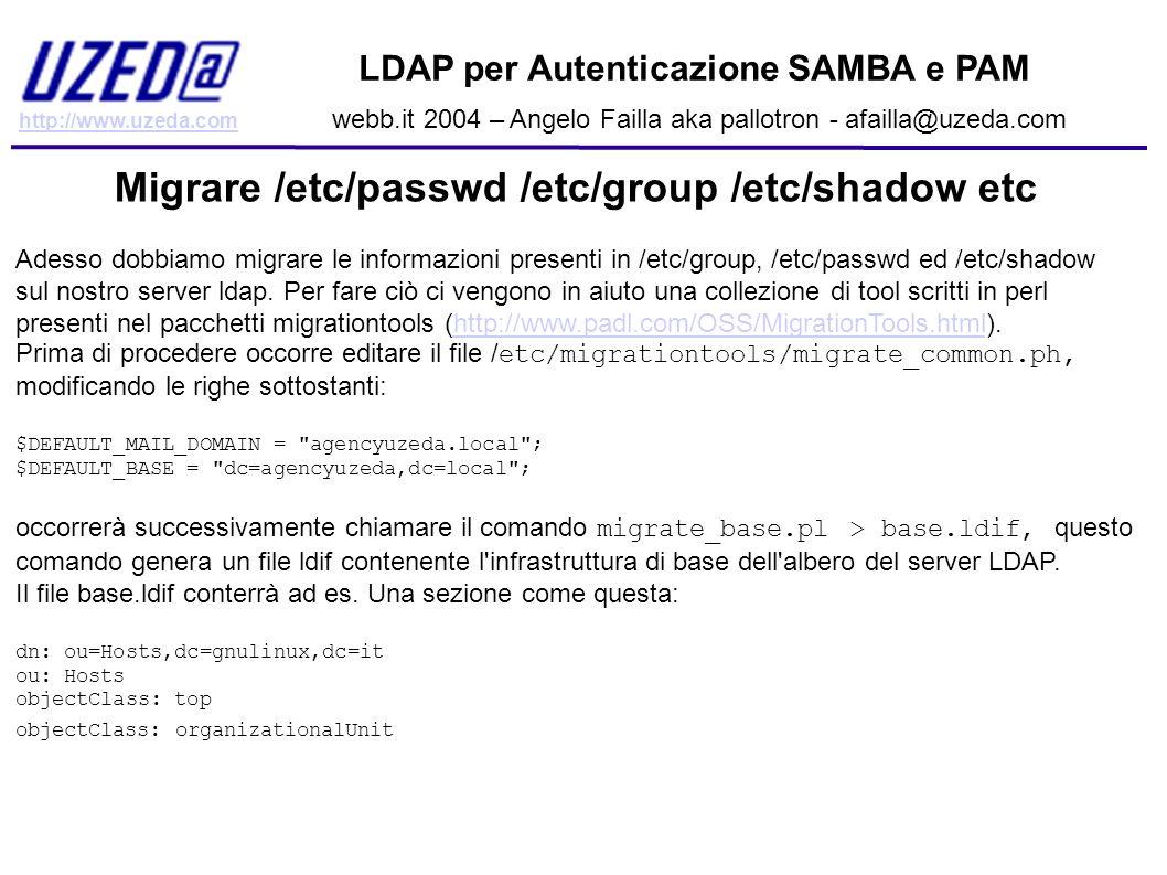 http://www.uzeda.com LDAP per Autenticazione SAMBA e PAM webb.it 2004 – Angelo Failla aka pallotron - afailla@uzeda.com Migrare /etc/passwd /etc/group