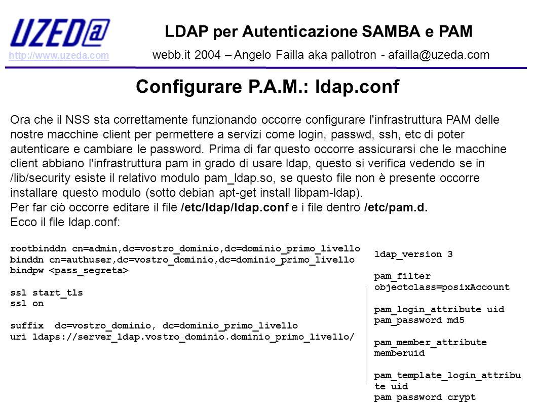 http://www.uzeda.com LDAP per Autenticazione SAMBA e PAM webb.it 2004 – Angelo Failla aka pallotron - afailla@uzeda.com Configurare P.A.M.: ldap.conf