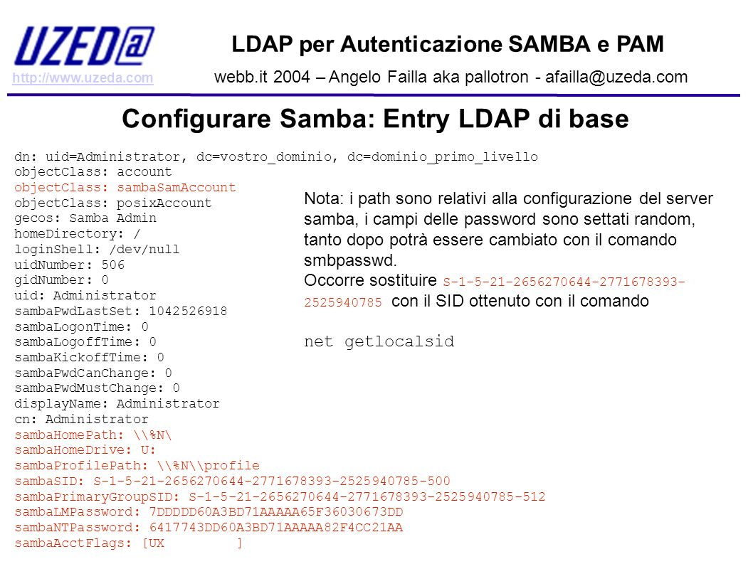 http://www.uzeda.com LDAP per Autenticazione SAMBA e PAM webb.it 2004 – Angelo Failla aka pallotron - afailla@uzeda.com Configurare Samba: Entry LDAP