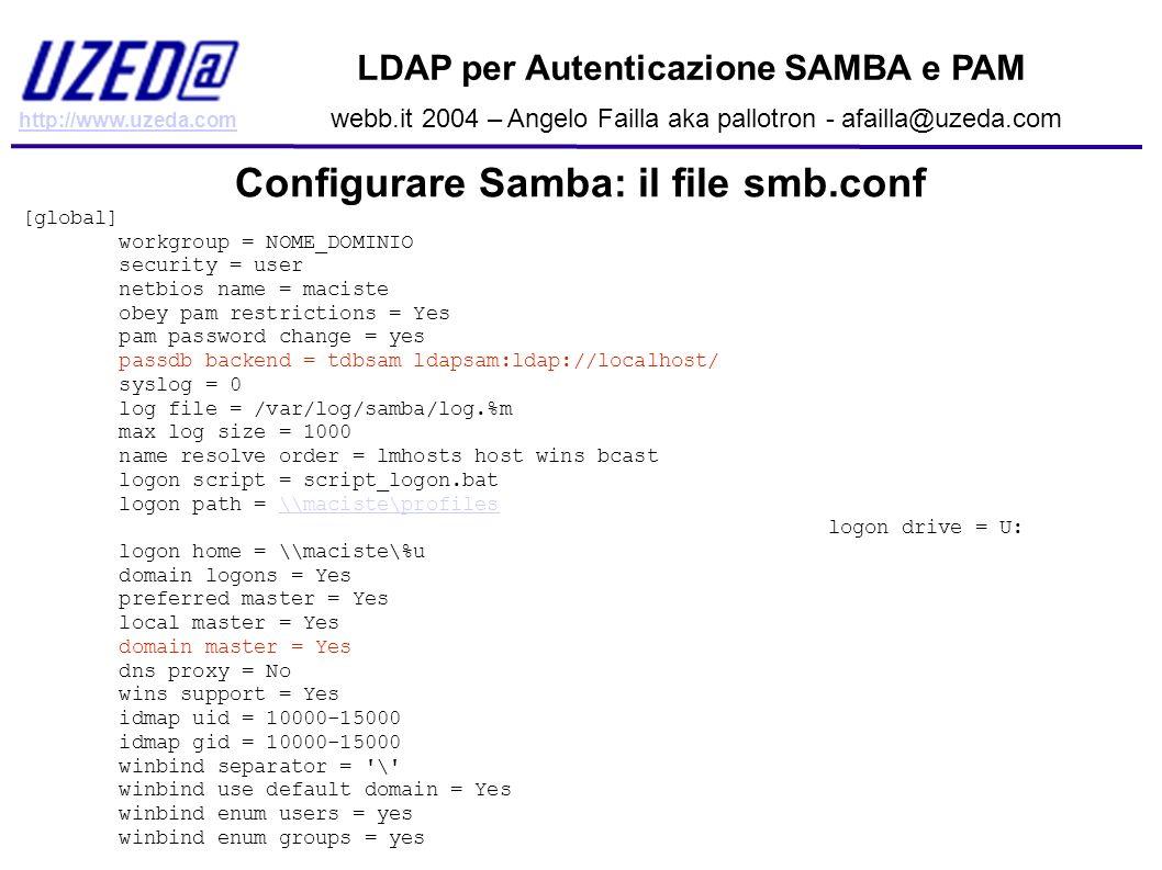 http://www.uzeda.com LDAP per Autenticazione SAMBA e PAM webb.it 2004 – Angelo Failla aka pallotron - afailla@uzeda.com Configurare Samba: il file smb