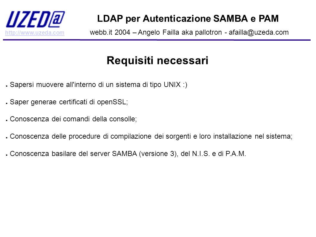 http://www.uzeda.com LDAP per Autenticazione SAMBA e PAM webb.it 2004 – Angelo Failla aka pallotron - afailla@uzeda.com Configurare Samba: Premesse Adesso vedremo come configurare un server SAMBA (versione 3) come PDC utilizzando ldap come backend per utenti e gruppi.