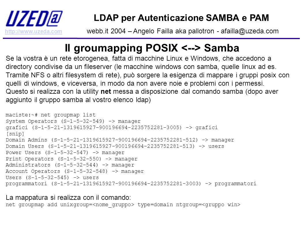 http://www.uzeda.com LDAP per Autenticazione SAMBA e PAM webb.it 2004 – Angelo Failla aka pallotron - afailla@uzeda.com Il groumapping POSIX Samba Se