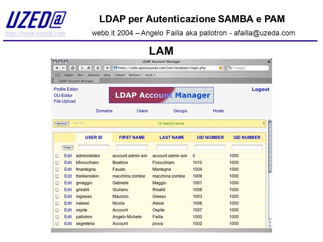 http://www.uzeda.com LDAP per Autenticazione SAMBA e PAM webb.it 2004 – Angelo Failla aka pallotron - afailla@uzeda.com LAM
