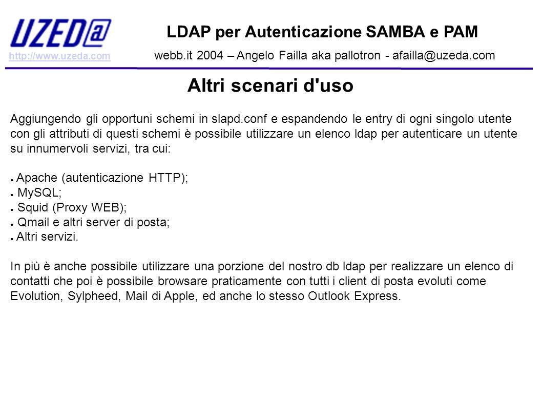 http://www.uzeda.com LDAP per Autenticazione SAMBA e PAM webb.it 2004 – Angelo Failla aka pallotron - afailla@uzeda.com Altri scenari d'uso Aggiungend