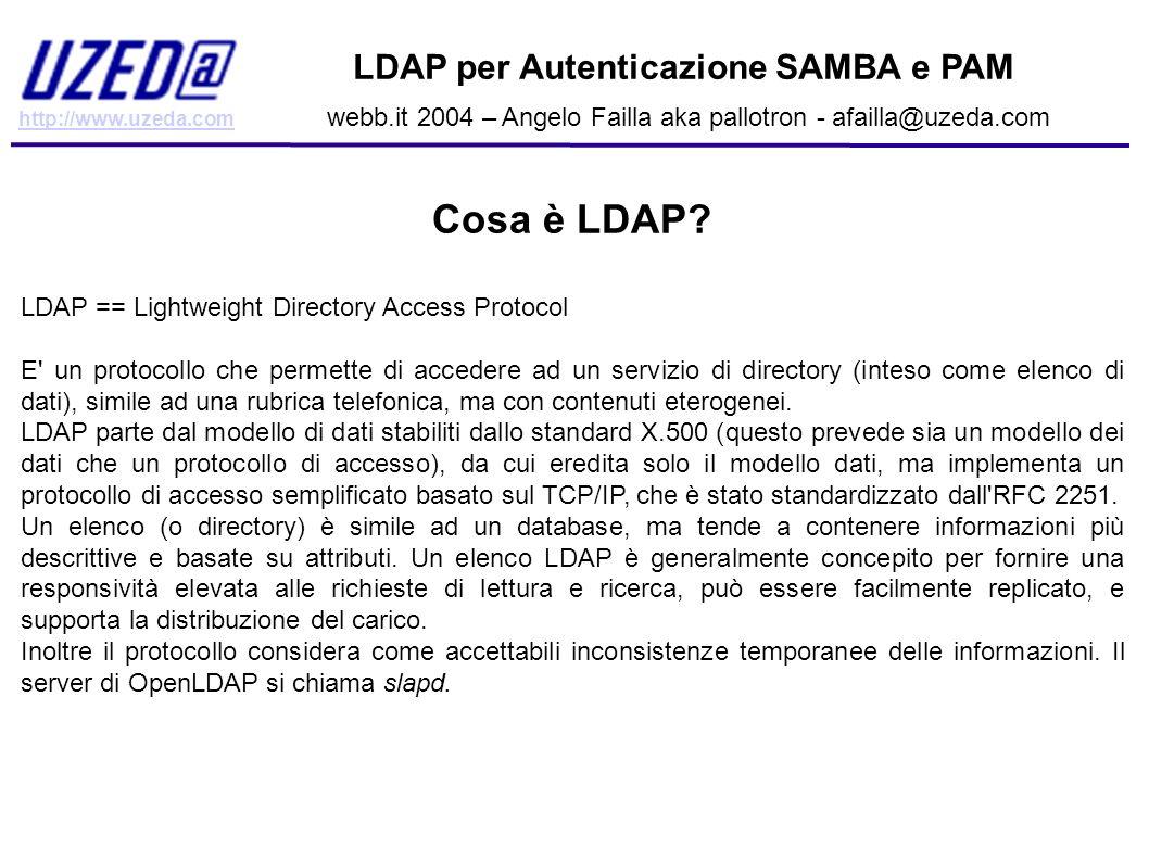 http://www.uzeda.com LDAP per Autenticazione SAMBA e PAM webb.it 2004 – Angelo Failla aka pallotron - afailla@uzeda.com Altri scenari d uso Aggiungendo gli opportuni schemi in slapd.conf e espandendo le entry di ogni singolo utente con gli attributi di questi schemi è possibile utilizzare un elenco ldap per autenticare un utente su innumervoli servizi, tra cui: Apache (autenticazione HTTP); MySQL; Squid (Proxy WEB); Qmail e altri server di posta; Altri servizi.