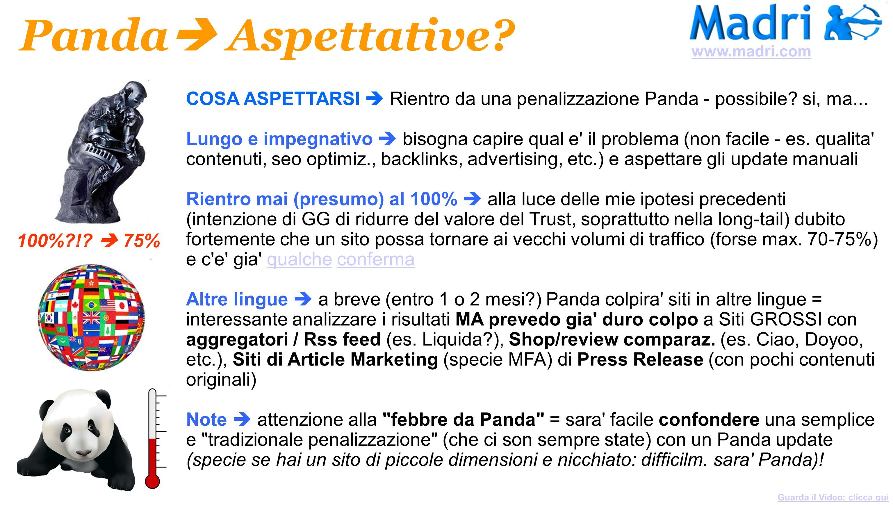 COSA ASPETTARSI Rientro da una penalizzazione Panda - possibile? si, ma... Lungo e impegnativo bisogna capire qual e' il problema (non facile - es. qu