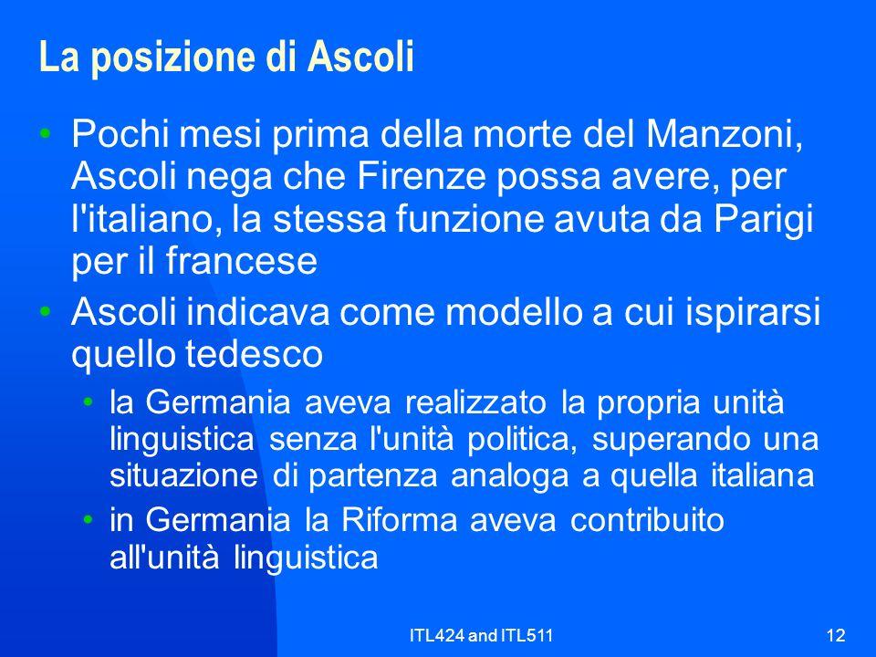 ITL424 and ITL51112 La posizione di Ascoli Pochi mesi prima della morte del Manzoni, Ascoli nega che Firenze possa avere, per l'italiano, la stessa fu