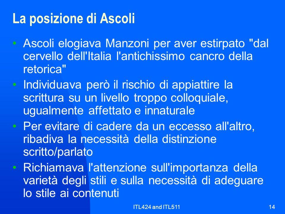 ITL424 and ITL51114 La posizione di Ascoli Ascoli elogiava Manzoni per aver estirpato