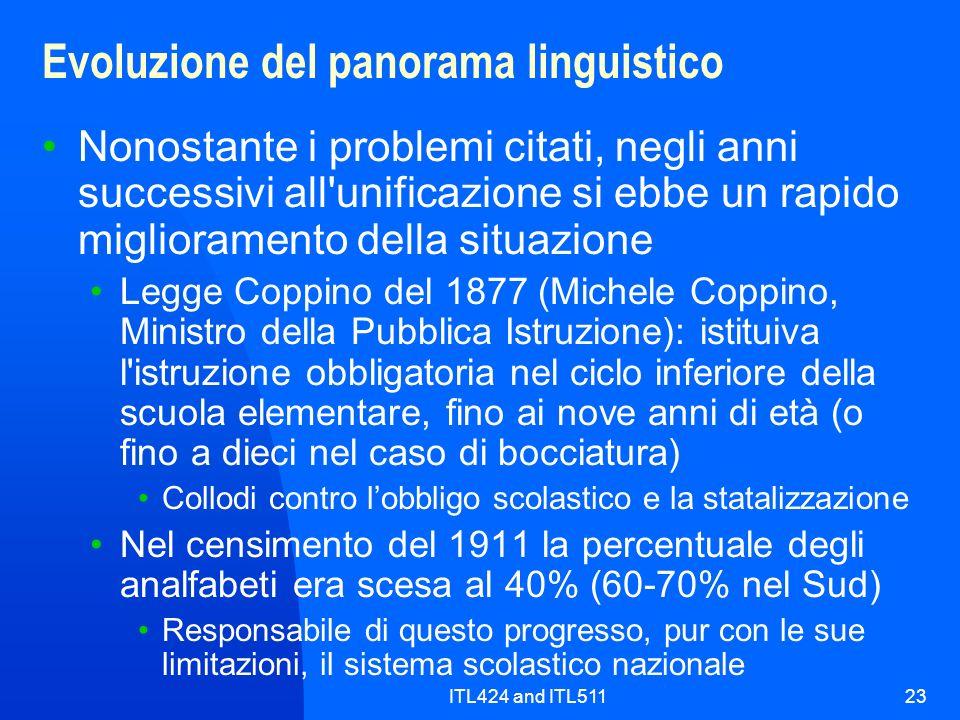 ITL424 and ITL51123 Evoluzione del panorama linguistico Nonostante i problemi citati, negli anni successivi all'unificazione si ebbe un rapido miglior