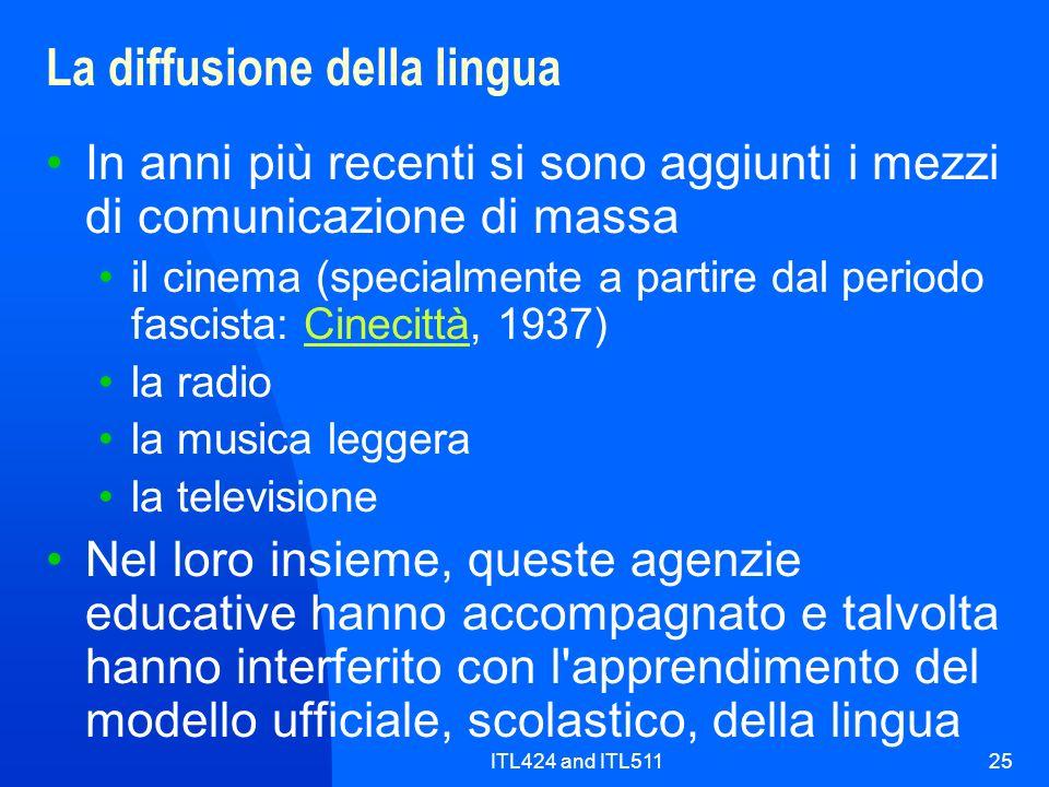 ITL424 and ITL51125 La diffusione della lingua In anni più recenti si sono aggiunti i mezzi di comunicazione di massa il cinema (specialmente a partir