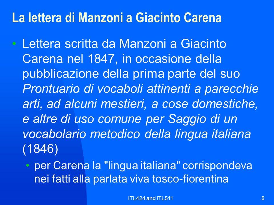 ITL424 and ITL5115 La lettera di Manzoni a Giacinto Carena Lettera scritta da Manzoni a Giacinto Carena nel 1847, in occasione della pubblicazione del