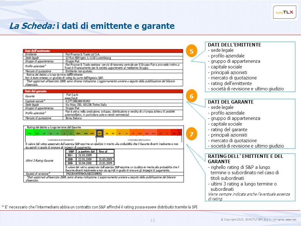 © Copyright 2010, EUROTLX SIM S.p.A.. All rights reserved. 12 La Scheda: i dati di emittente e garante DATI DELLEMITTENTE - sede legale - profilo azie
