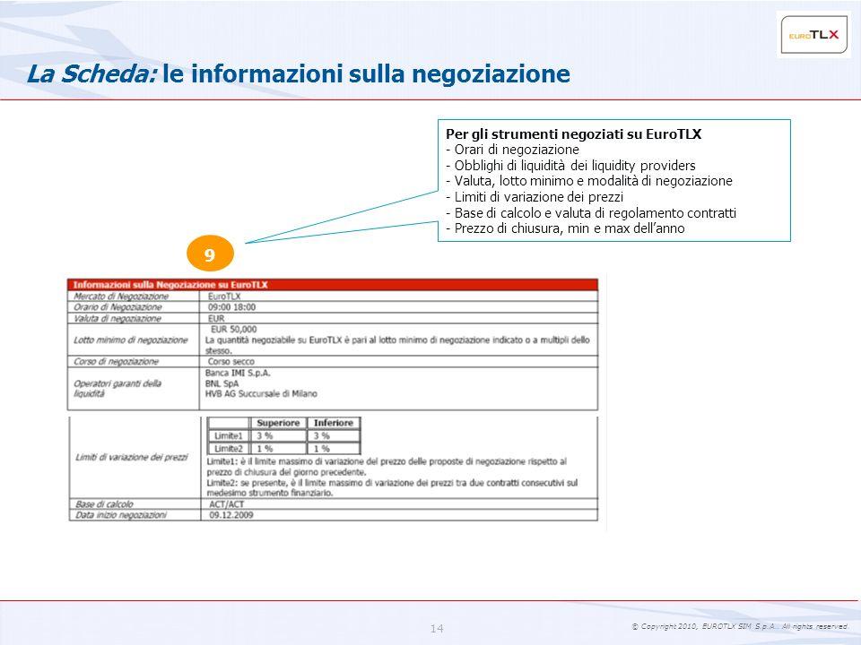© Copyright 2010, EUROTLX SIM S.p.A.. All rights reserved. 14 La Scheda: le informazioni sulla negoziazione 9 Per gli strumenti negoziati su EuroTLX -