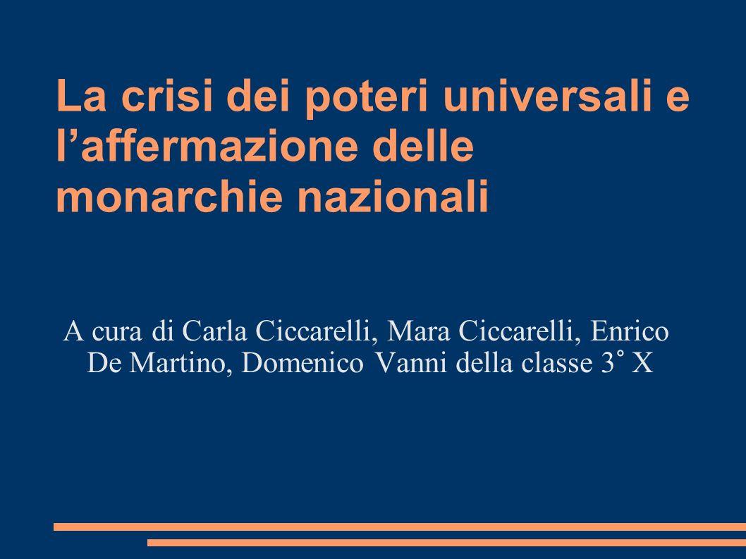 La crisi dei poteri universali e laffermazione delle monarchie nazionali A cura di Carla Ciccarelli, Mara Ciccarelli, Enrico De Martino, Domenico Vann