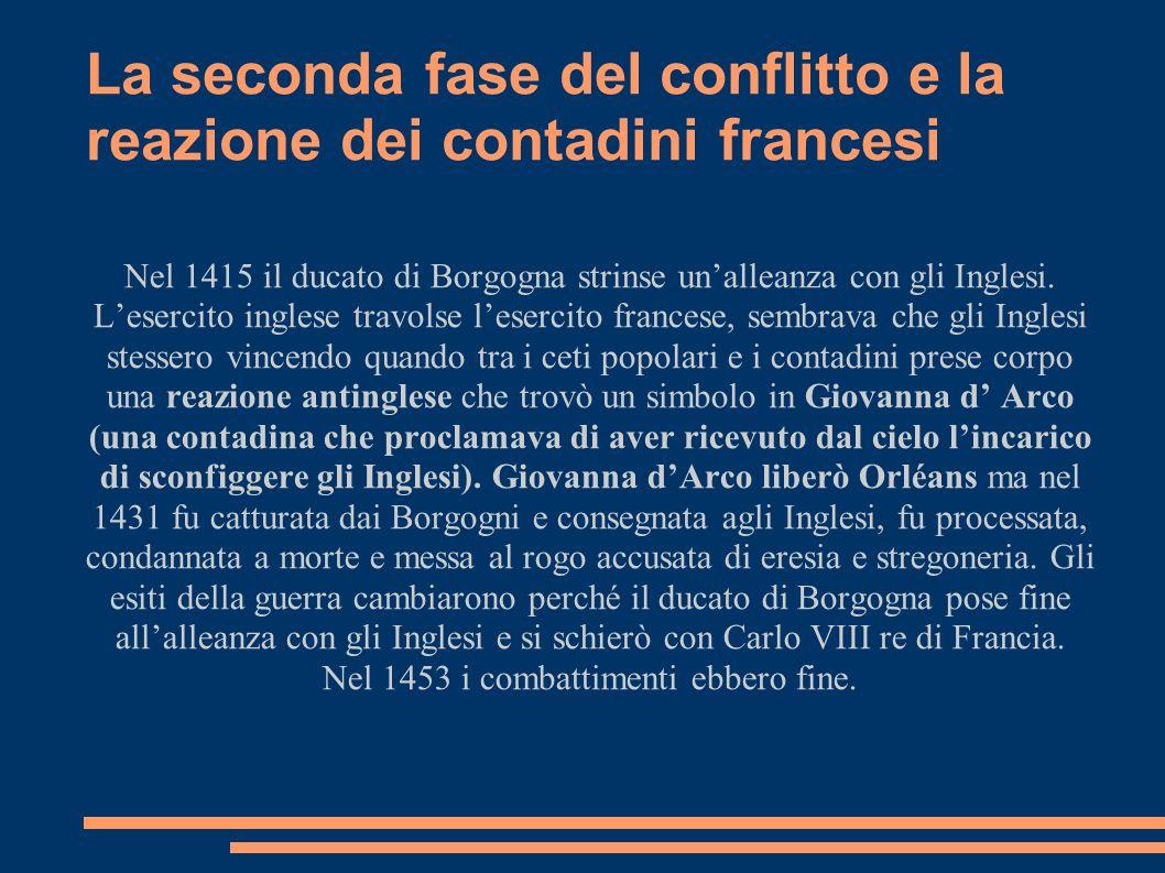La seconda fase del conflitto e la reazione dei contadini francesi Nel 1415 il ducato di Borgogna strinse unalleanza con gli Inglesi. Lesercito ingles
