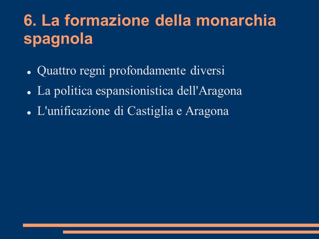 6. La formazione della monarchia spagnola Quattro regni profondamente diversi La politica espansionistica dell'Aragona L'unificazione di Castiglia e A