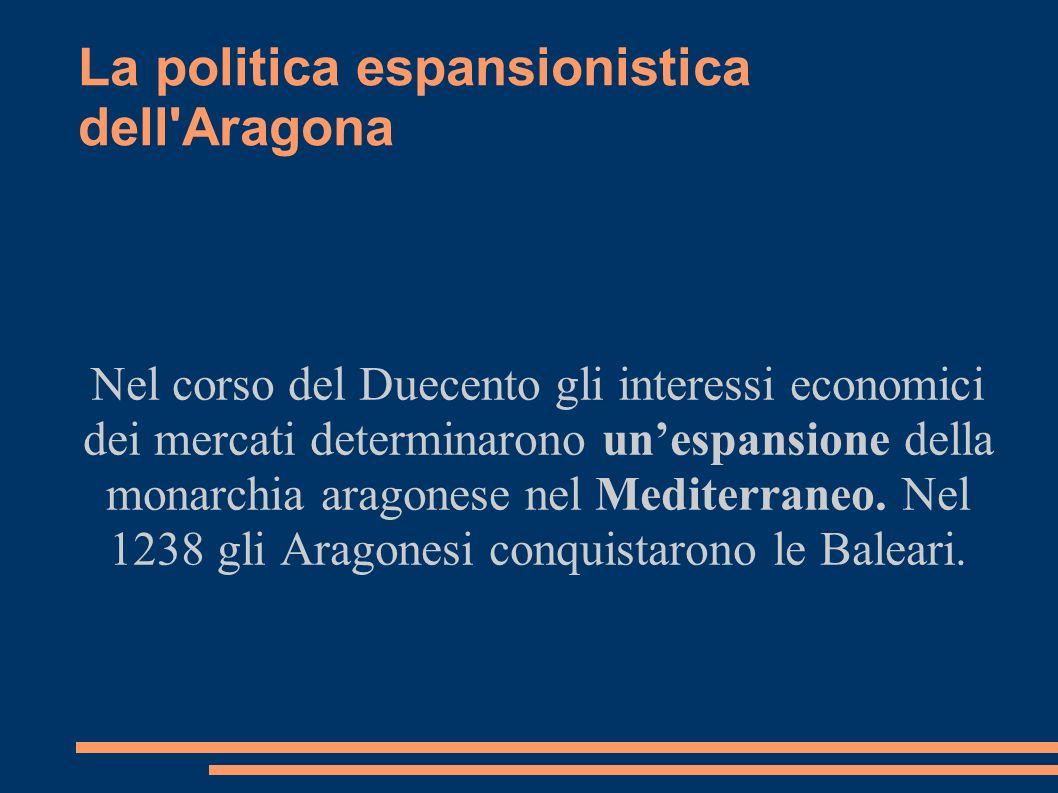 La politica espansionistica dell'Aragona Nel corso del Duecento gli interessi economici dei mercati determinarono unespansione della monarchia aragone