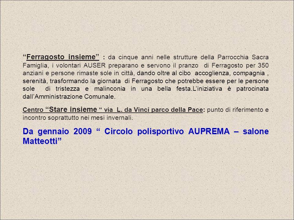 AUSER insieme Cinisello Balsamo utilizza due locali in affitto da coop.