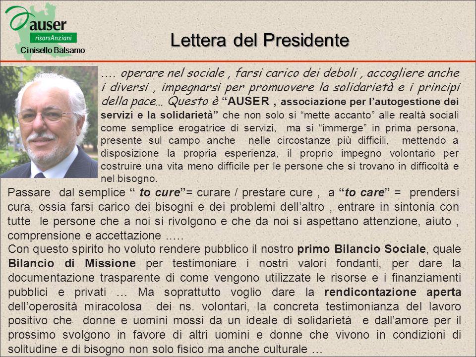 Lettera del Presidente …. operare nel sociale, farsi carico dei deboli, accogliere anche i diversi, impegnarsi per promuovere la solidarietà e i princ