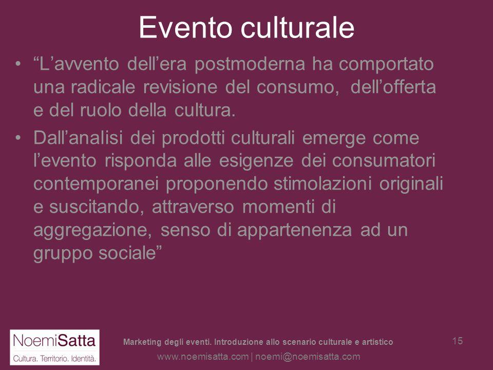Marketing degli eventi. Introduzione allo scenario culturale e artistico www.noemisatta.com | noemi@noemisatta.com 14 Levento Richiede che esistano (c
