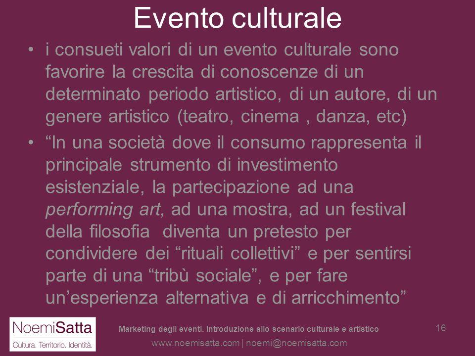 Marketing degli eventi. Introduzione allo scenario culturale e artistico www.noemisatta.com | noemi@noemisatta.com 15 Evento culturale Lavvento deller