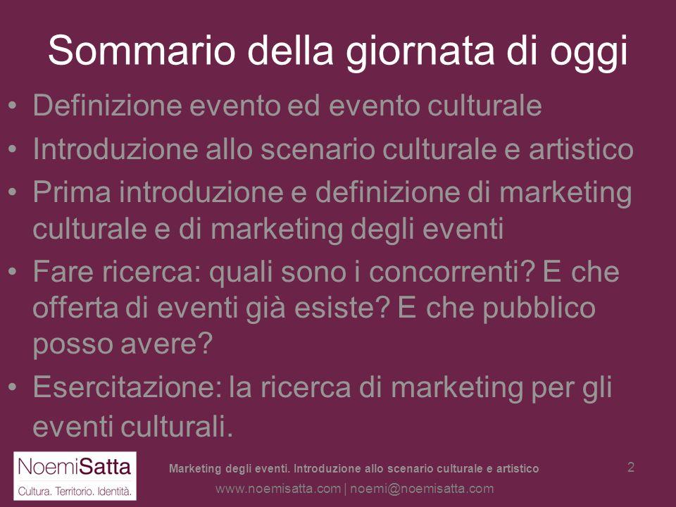 Marketing degli eventi. Introduzione allo scenario culturale e artistico di Noemi Satta www.noemisatta.com | noemi@noemisatta.com Questo documento è d