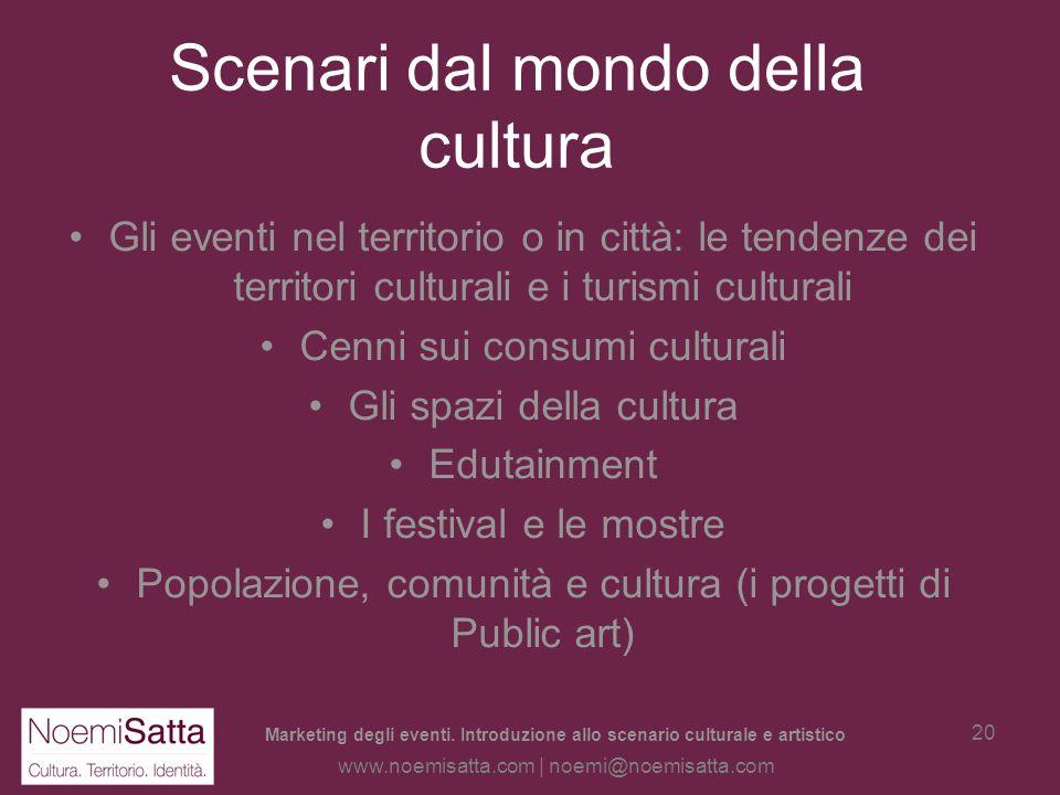 Marketing degli eventi. Introduzione allo scenario culturale e artistico www.noemisatta.com | noemi@noemisatta.com 19 Levento nel territorio è fruibil