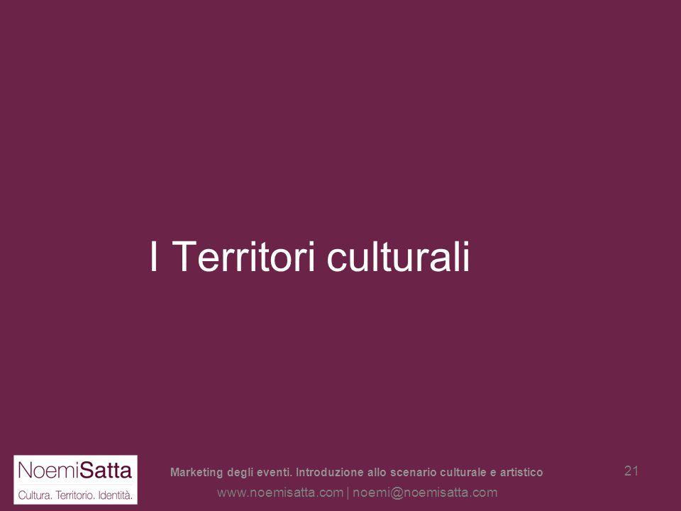 Marketing degli eventi. Introduzione allo scenario culturale e artistico www.noemisatta.com | noemi@noemisatta.com 20 Scenari dal mondo della cultura