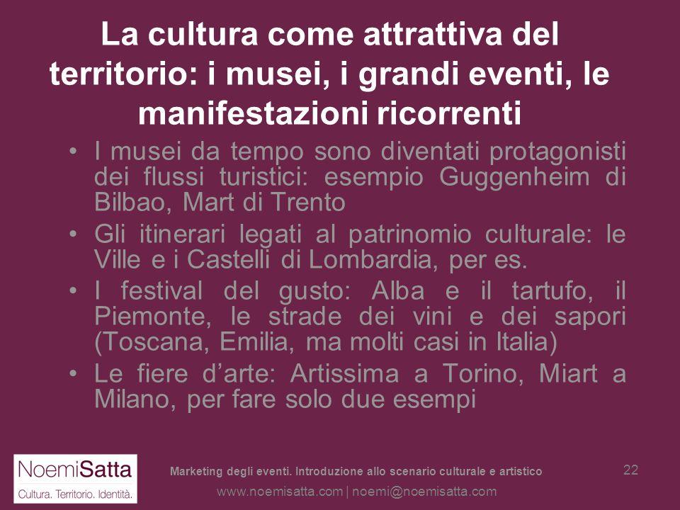 Marketing degli eventi. Introduzione allo scenario culturale e artistico www.noemisatta.com | noemi@noemisatta.com 21 I Territori culturali